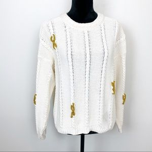 Ann Taylor Sweater Chunky Cable Knit Ivory White